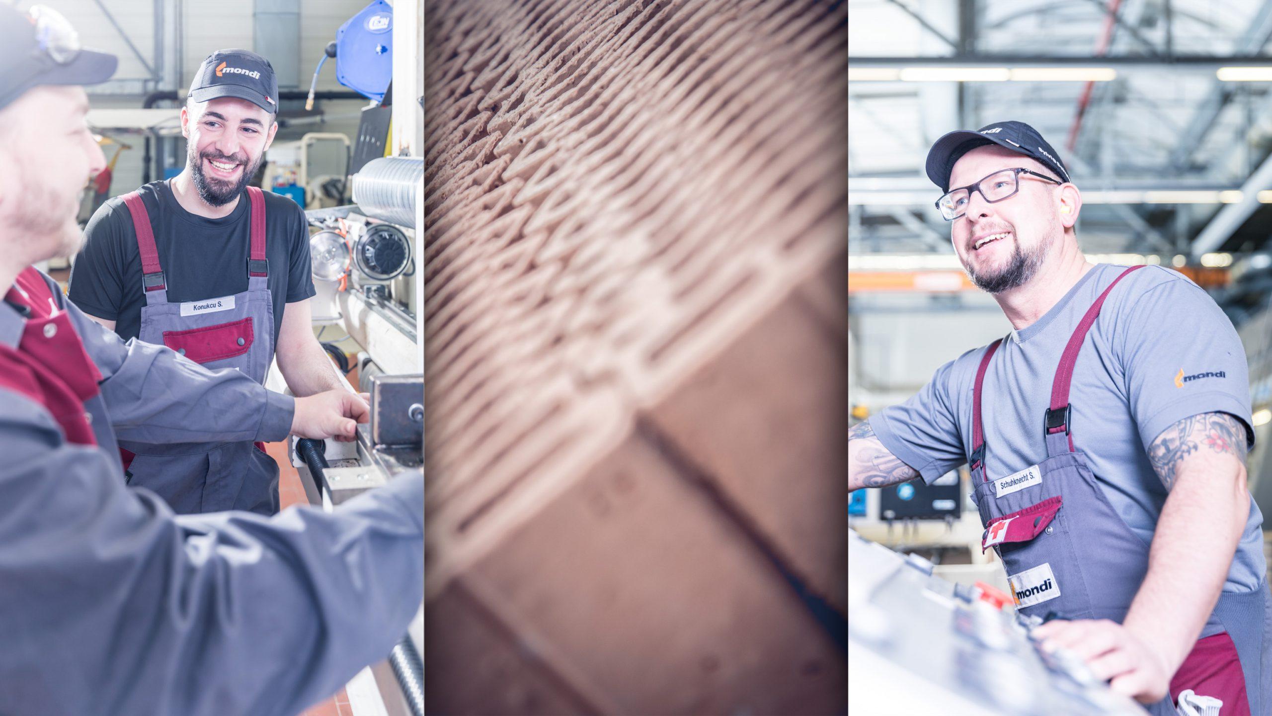 Kollegen männlich beim Bedienen einer Folienmaschine in der Fertigung von Mondi - Detail Ziegel Backstein