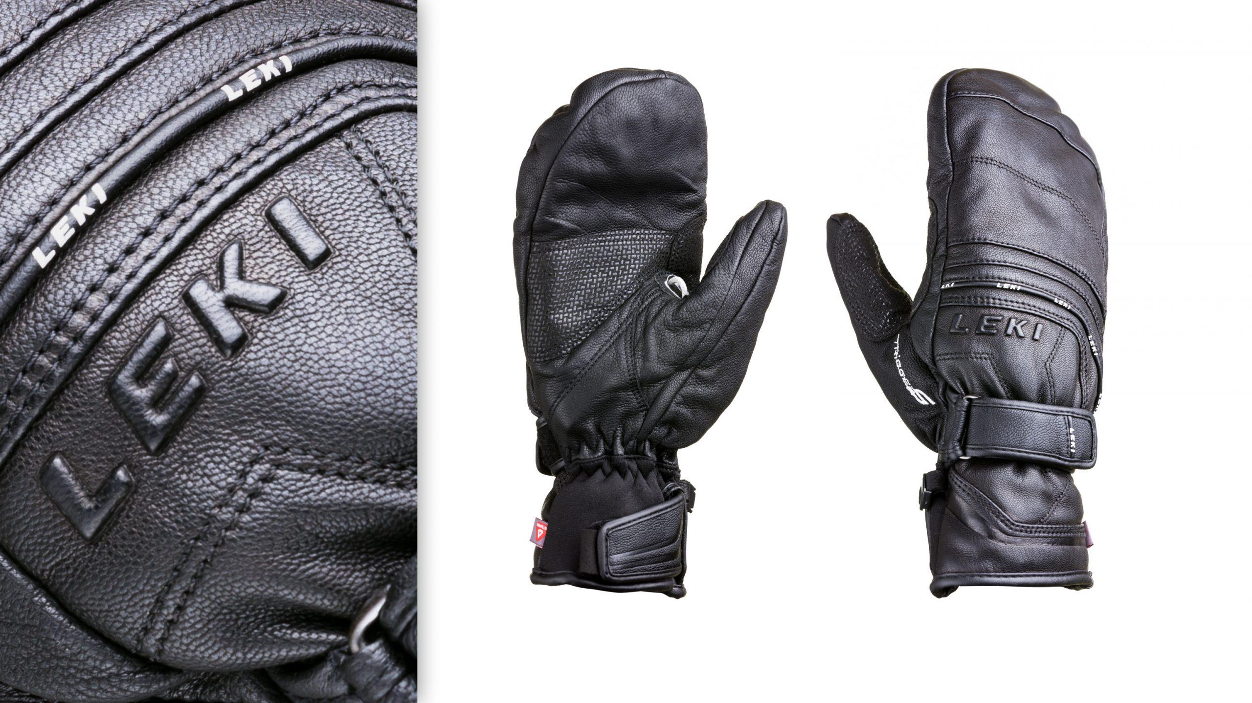 Produktphoto Leki Fuse Mittens Handschuhe Fäustlinge und emotional Detail vor weiß