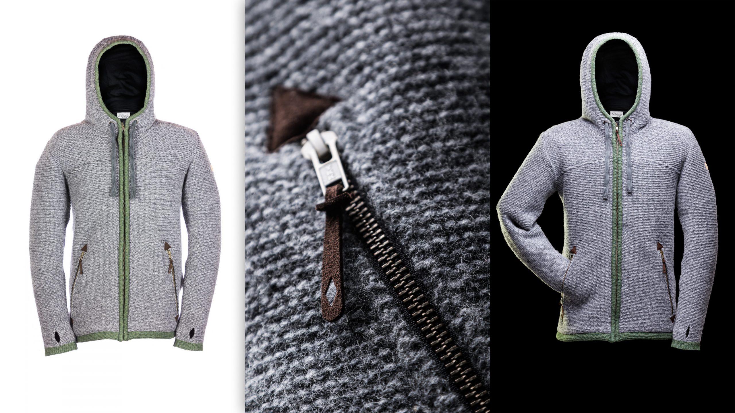 Produktphoto Liebling Trachtenjanker mit Kapuze und emotional Detail vor weiß und schwarz