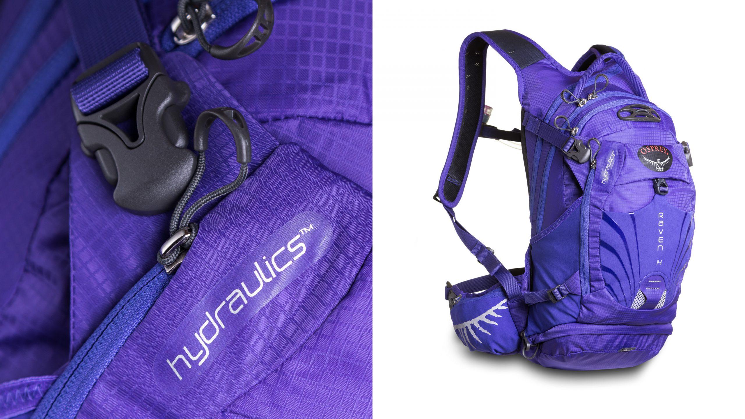 Produktphoto Osprey Backpacks Rucksack Raven 14 Hydraulics TM und emotional Detail vor weiß