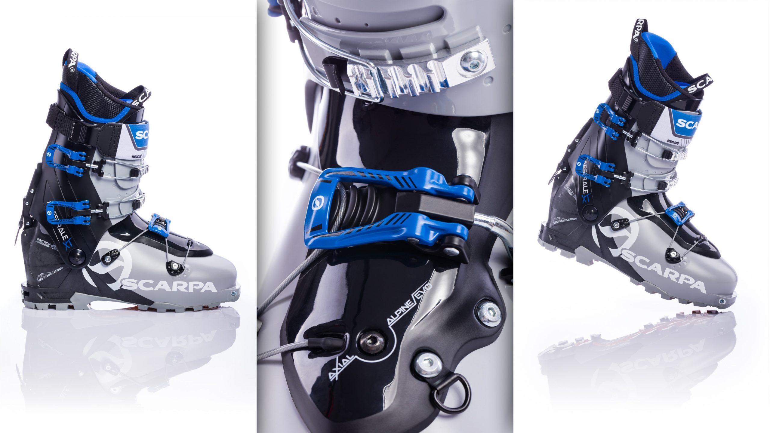 Produktphotos Scarpa Maestrale XT Axial Alpine Evo Tourenskischuh Skischuh Skistiefel mit emotional Detail vor weiß mit Spiegelung