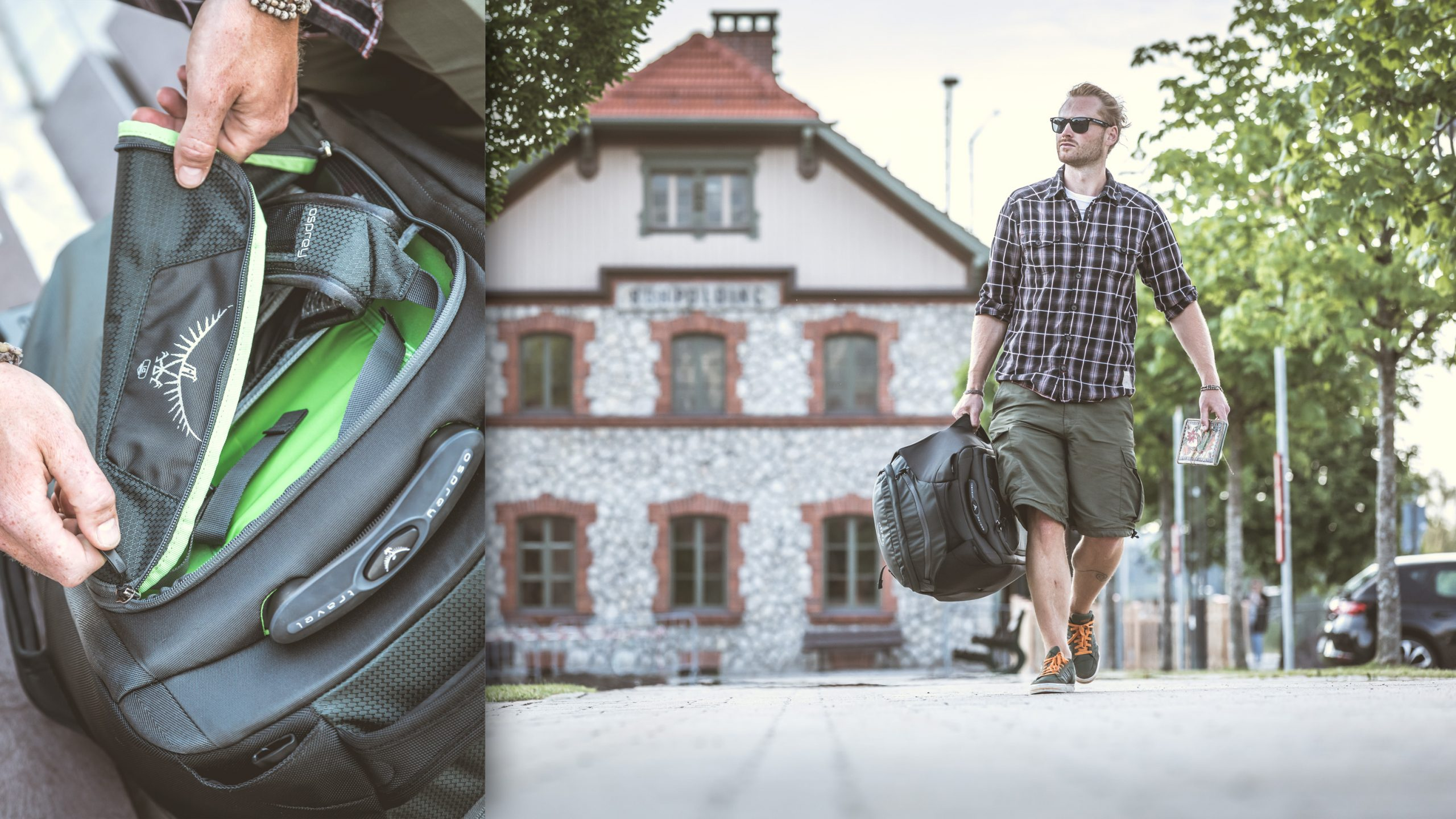 männlicher Reisender in Hemd und kurze Hose mit Sonnenbrille trägt Osprey Soujourn 80 Trolly Rucksack Koffer vor ländlichem Bahnhof - emotional Detail Reisverschluss