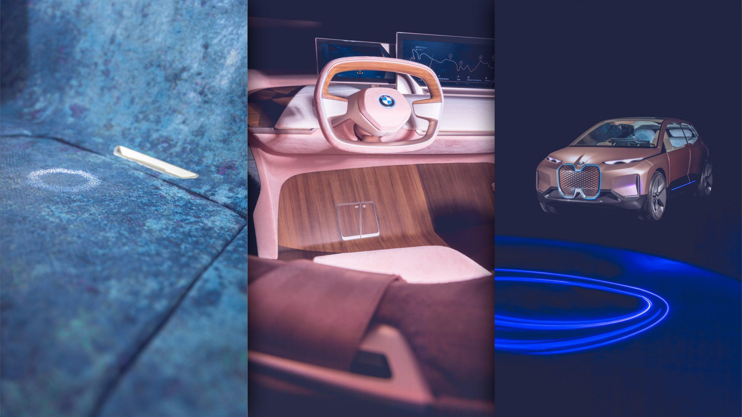 BMW Vision iNext Konzeptauto im Photostudio vor blau autonomes Fahren Interiour Lenkrad Emotional Detail Shytech Redale Navigationssystem Cockpit
