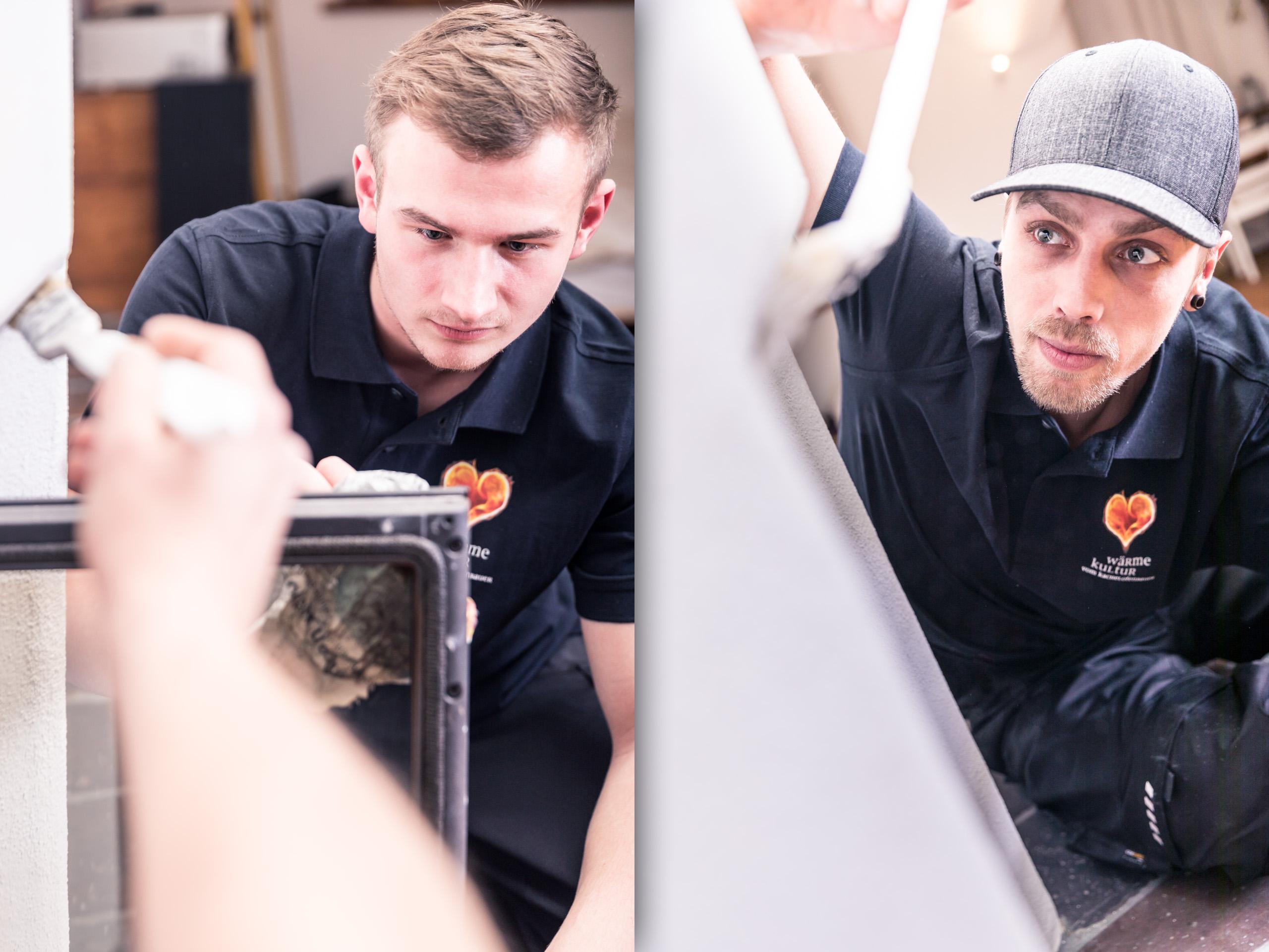 Wärme Kultur Handwerk Kollegen männlich im bereiten Ofen mit Pinsel zur Abnahme vor Business Portrait